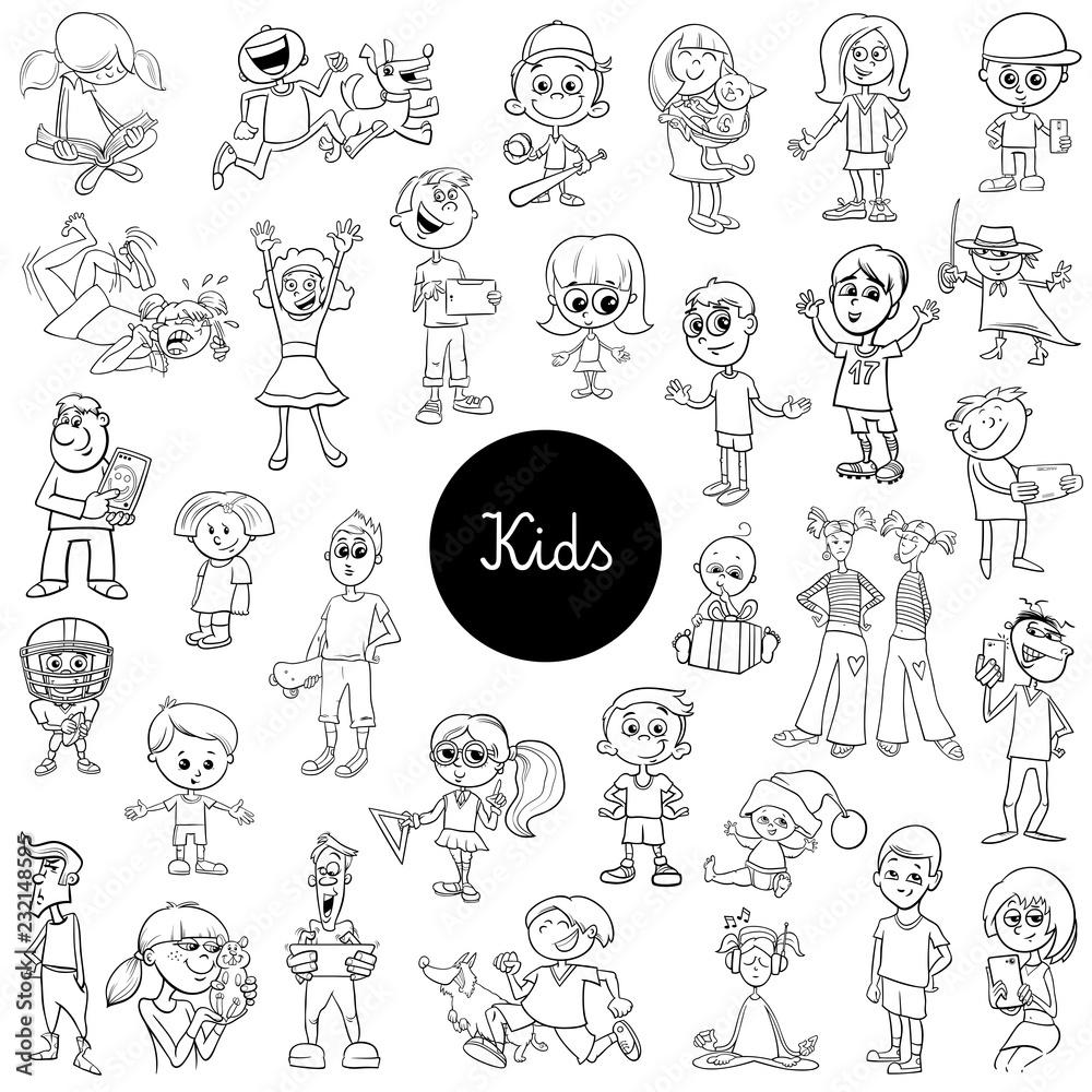 comic kids characters black and white set <span>plik: #232148595   autor: Igor Zakowski</span>