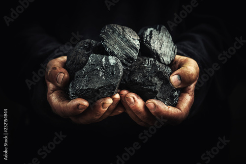 Canvas Print black coal in the hands, heavy industry, heating, mineral raw materials