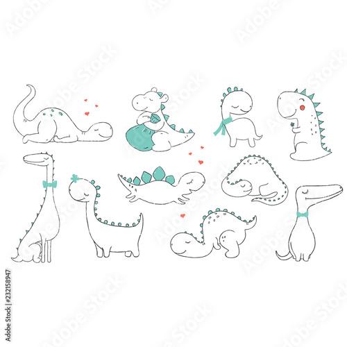 Fototapeta premium Zestaw małych uroczych dinozaurów. Ilustracji wektorowych