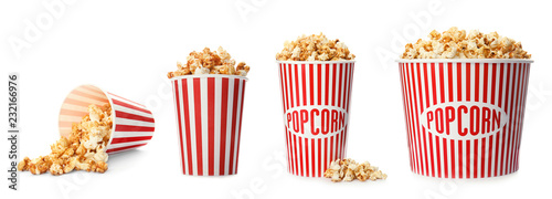 Set with different cardboard containers of caramel popcorn on white background