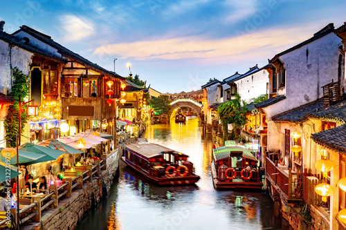 Suzhou ancient town night view