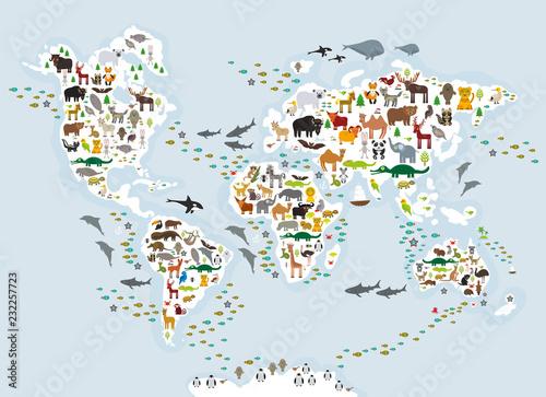 Mapa świata zwierząt z kreskówek dla dzieci i dzieci, zwierzęta z całego świata, białe kontynenty i wyspy na niebiesko-szarym tle