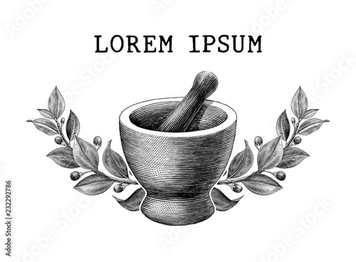 Fotografia Mortar and pestle with herbs frame vintage engraving illustration logo isolated