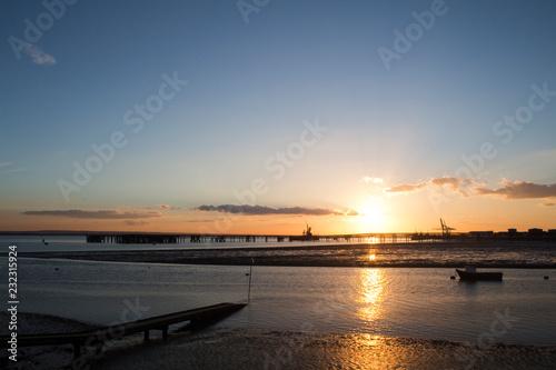 Obraz na plátně Sunset at Holehaven, Canvey Island, Essex, England