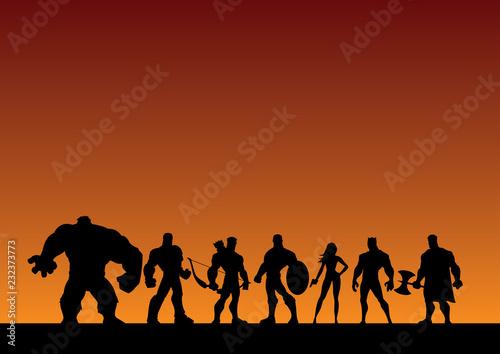 Slika na platnu Conceptual illustration depicting a team of superheroes.