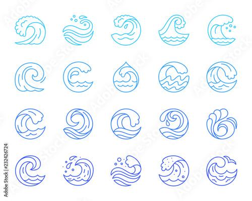 Fototapeta Water wave simple color line icons vector set