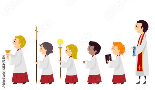 Stickman Kids Altar Boys Line Priest Illustration