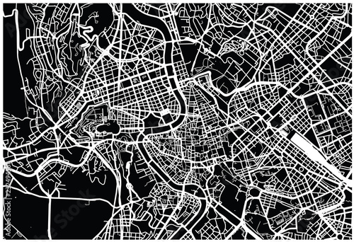 Obraz na plátně Urban vector city map of Rome, Italy