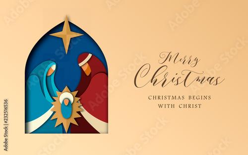 Obraz na plátne Christmas paper cut card of jesus and holy family
