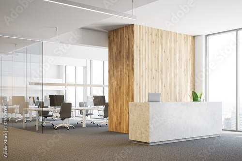 Canvas Print Concrete reception in open space office