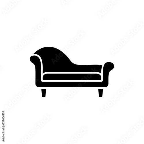 Slika na platnu Black & white vector illustration of chaise lounge sofa