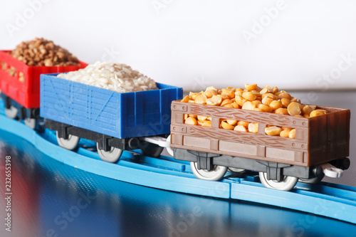 Wagons with grain of peas, rice and buckwheat.