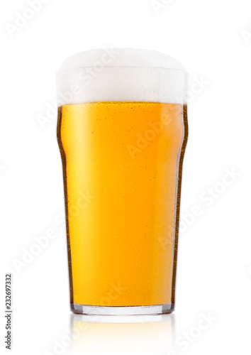 Tableau sur Toile Cold glass of lager ale beer with foam and dew