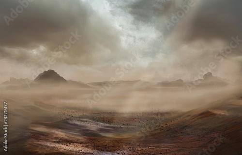 Carta da parati Fantasy desert landscape with sandy storm and strom clouds