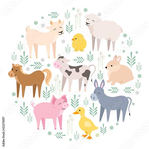 Carta da parati Cute farm animals cow, pig, lamb, donkey, bunny, chick, horse, goat, duck isolated