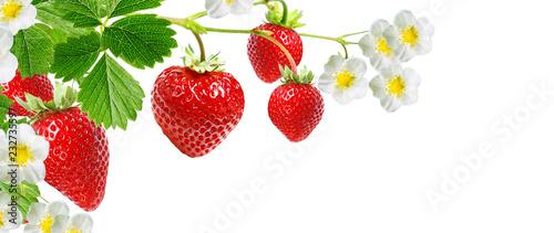 tasty red strawberries on white background