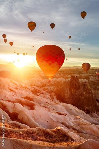 Color balloon. Sunrise. Fotobehang