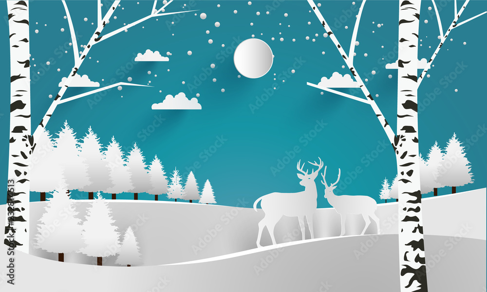 deer in the forest in the winter. paper art design