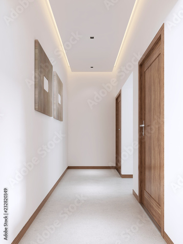 Photo White corridor in a modern style with wooden fittings.