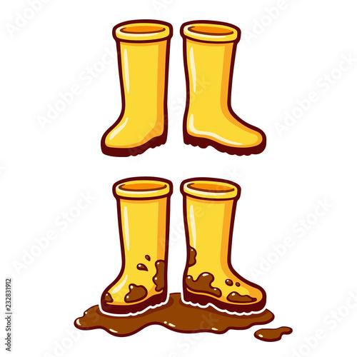 Cartoon yellow rain boots Fototapet
