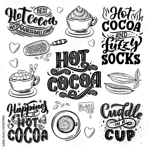 Photo Hot cocoa hand lettering set with cup of cocoa, marshmallows