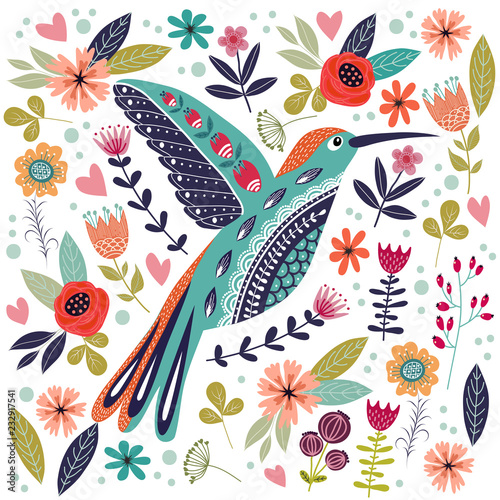 Fototapeta Art vector colorful illustration with beautiful abstract folk bird and flowers