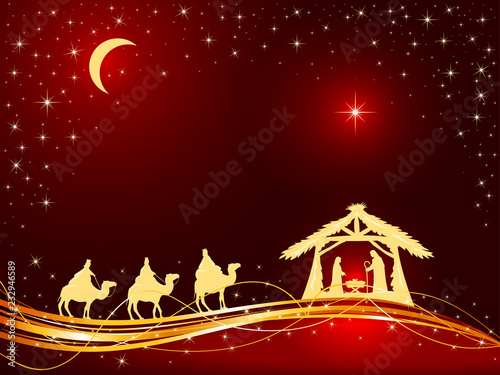 Christian Christmas Background with Birth of Jesus and Star Fototapete