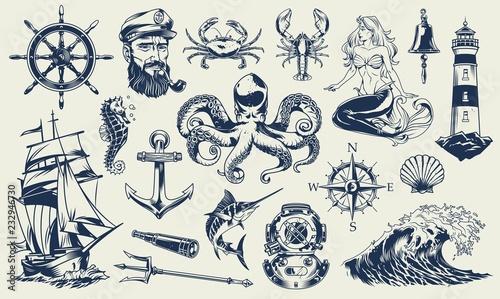 Canvas Print Vintage monochrome nautical elements set