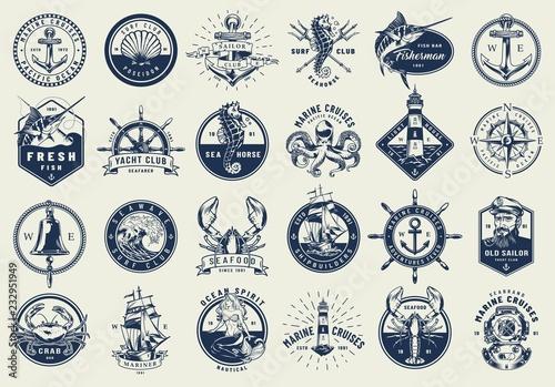 Stampa su Tela Vintage nautical labels collection