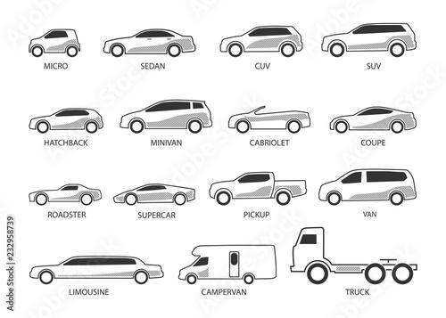 Fotografia car type icon set