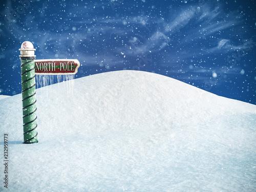 Obraz na plátně 3D rendering of a north pole sign.