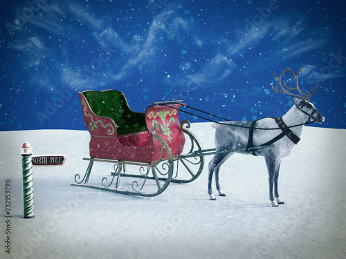 3D rendering of a north pole sign and reindeer with sleigh. Fototapeta
