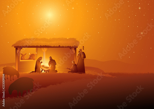 Leinwand Poster Nativity Scene of The Holy Family In Stable