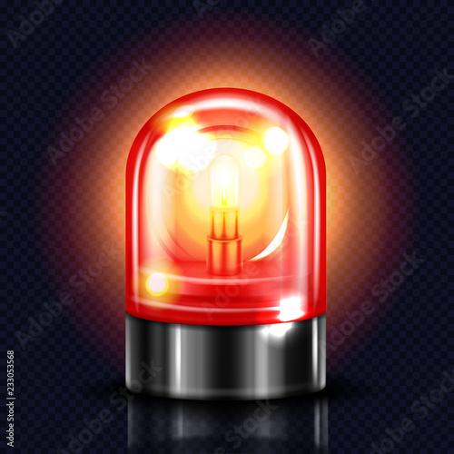 Fotografia Siren light vector illustration of red alarm lamp or police and ambulance emergency flasher