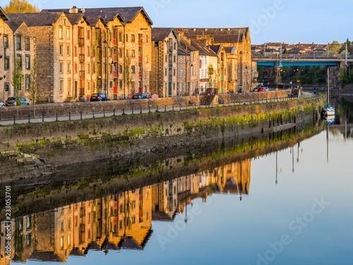Stampa su Tela Lancaster Quayside from Millenium Bridge across River Lune in Lancashire England