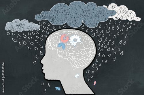 Depression Concept with Human, Broken Brain and Heavy Rain Fototapeta