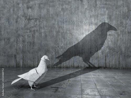 Billede på lærred Concept of hidden potential, dualism and change
