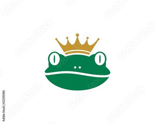 Fototapeta premium Król żaba Logo szablon ilustracji wektorowych