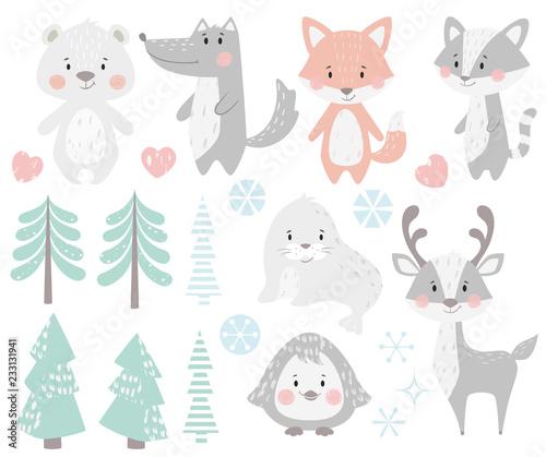 Photo Reindeer, raccoon, seal, wolf, penguin, bear, fox baby winter set