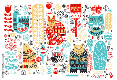 Fototapeta Nordic animals and birds and floral folk elements in Scandinavian style
