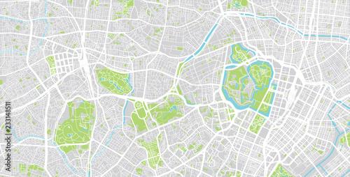 Fotografie, Obraz Urban vector city map of Tokyo centre, Japan
