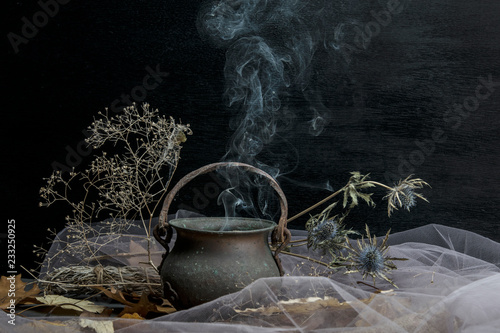 Fototapeta Magic pot with herbs and witchcraft