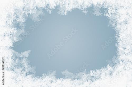 Obraz na płótnie natürlich gewachsene Eiskristalle auf blauem Hintergrund
