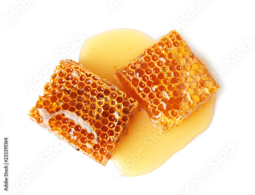 Fresh honeycombs on white background, top view