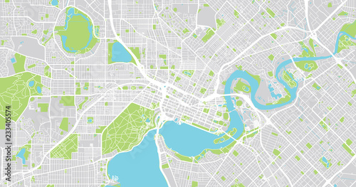 Obraz na plátně Urban vector city map of Perth, Australia