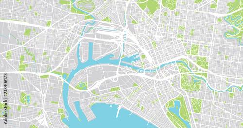 Obraz na plátně Urban vector city map of Melbourne, Australia