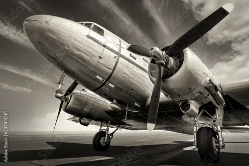 historical aircraft on a runway Poster Mural XXL