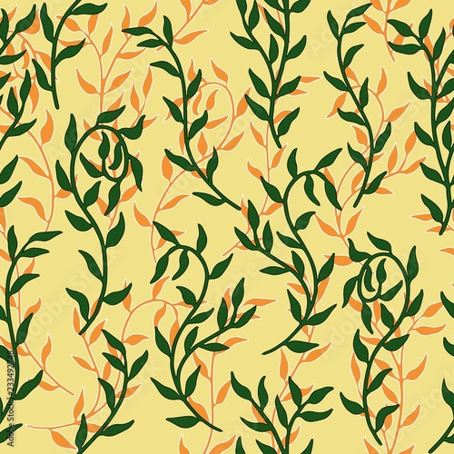 Liana spreads green and orange leaves creeper seamless pattern background vector Tapéta, Fotótapéta