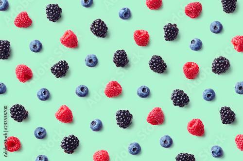 Fotografie, Obraz Colorful fruit pattern of wild berries