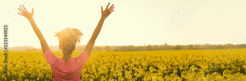 Female Woman Athlete Runner Celebrating In Yellow Flowers